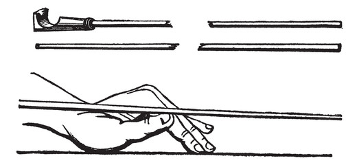 Cue stick and left hand cue stick position, Billiards, vintage e