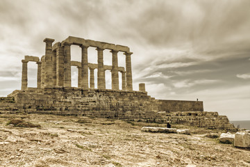 temple of poseidon in Sounio, Greece