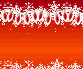 Red Christmas background with festive garland and snowflakes