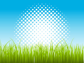 Artistic Halftone Background with Green Leaf Grass