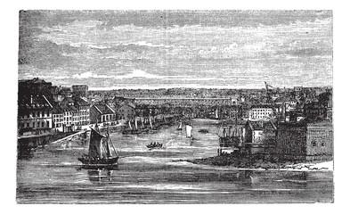 Penfeld, river, Brest, France, vintage engraving.