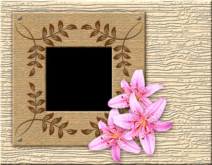 Wooden framework and lily