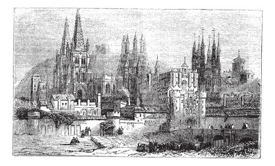 Burgos, city, Spain, vintage engraving.
