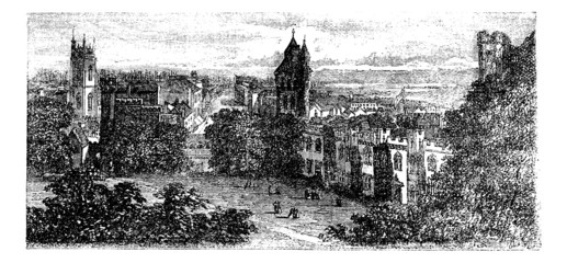 Cardiff view from castle, Wales, United Kingdom vintage engravin