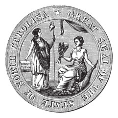Great seal or hallmark of North Carolina vintage engraving
