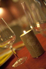 Foto op Plexiglas Alcohol candela natale tavola natalizia