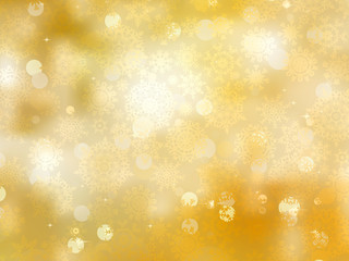 Gold Christmas background with snowflakes. EPS 8