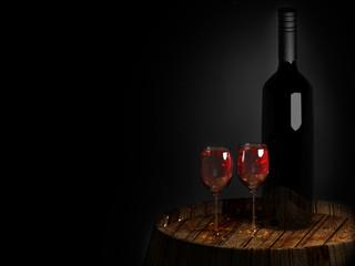 wine a on old barrel