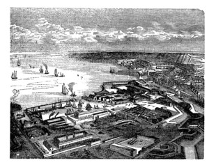 Cherbourg-Octeville, in Normandy, France, during the 1890s, vint