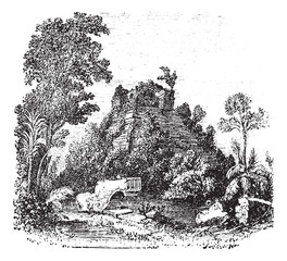 The castillo at Chichen Itza vintage engraving