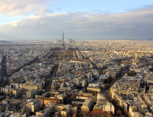 panorama of paris with a tower eiffel