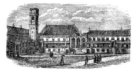 University of Coimbra, in Coimbra, Portugal, vintage engraving