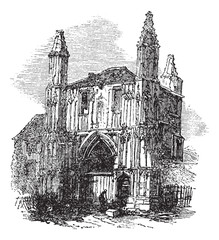 Colchester Abbey, in Essex, England, vintage engraving