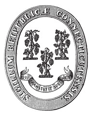 Seal of Connecticut vintage engraving