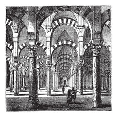 Cathedral-Mosque of Cordoba in Andalusia, Spain, vintage engravi