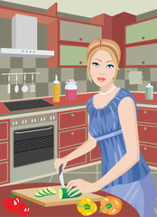 Young woman on kitchen cuts vegetables. vector