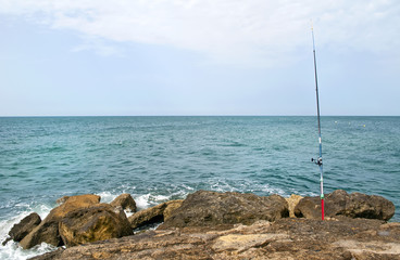 Caña de pescar en la costa