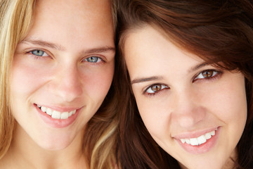 Close up portrait of teenage girls