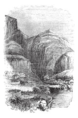 Delphi in Greece, vintage engraving