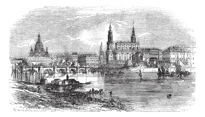 Dresden in Saxony, Germany, vintage engraving
