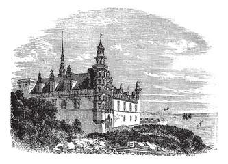 Kronborg Castle in Helsingor, Denmark, vintage engraving