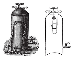 Fire Extinguisher, vintage engraved illustration