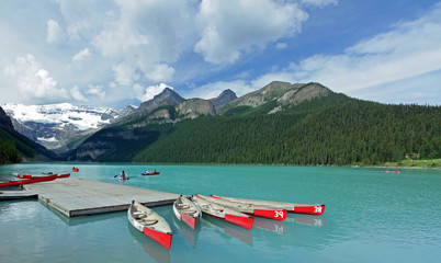 Red Canoes on Lake Louise - Banff National Park