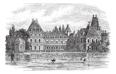Fontainebleau Palace in Paris, France, vintage engraving