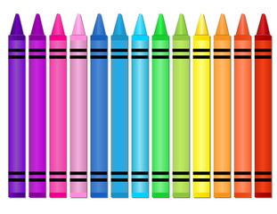 Crayons -Set of crayons displayed in a horizontal spectrum