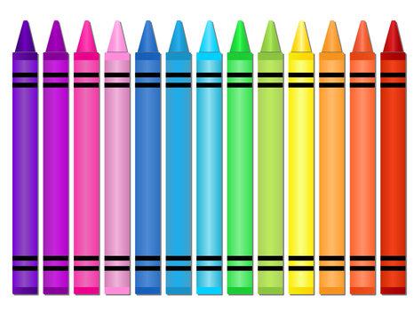 Crayons -Set of crayons displayed in a horizontal spectrum