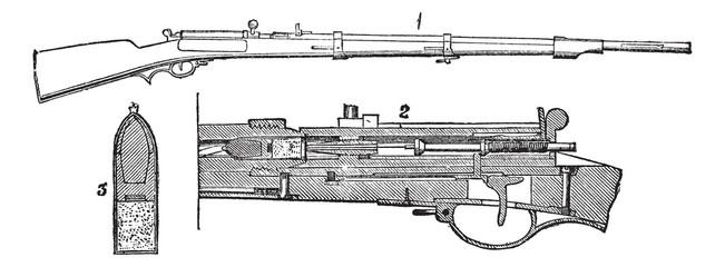Prussian needle-rifle vintage engraving