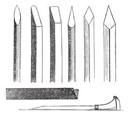 Wood carving hand tools vintage engraving