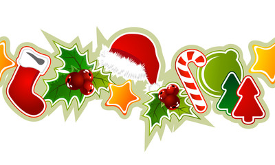 Beautiful seamless christmas pattern with different objects