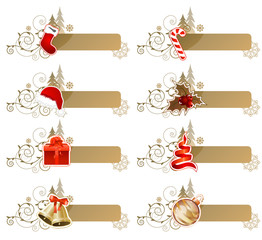 Set of different retro Christmas banners isolated on white