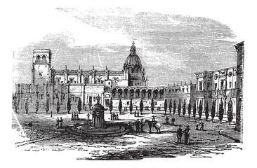 Historic cathedral building at Guadalajara, Mexico vintage engra