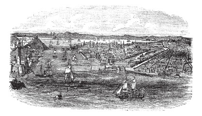 View of havana city, Cuba vintage engraving