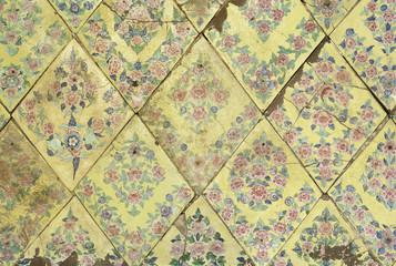 Pattern of National Thai art on glazed tile in oriental style