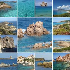 collage of beautiful sea landscape of Sardinia island