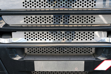 Detail of a of cooling radiator grill of a big truck