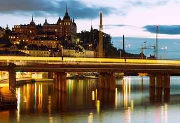 Night in the city of Stockholm.