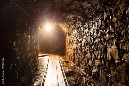 Fototapete Mine tunnel with path - historical gold, silver, copper mine.