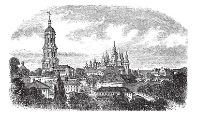 Pechersky Monastery, Kiev vintage engraving