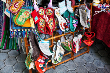 Kazakh ethnic shoes with ornaments