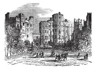 Lancaster castle, Lancashire vintage engraving