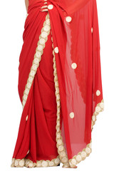 young woman in a beautiful red color saree,India
