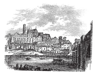 Old buildings at Limoges, France. vintage engraving