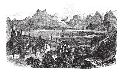 Lucerne in Switzerland vintage engraving