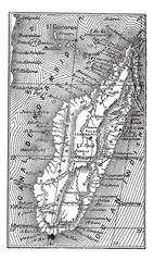 Map of Madagascar vintage engraving