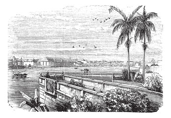 Manila or Pearl of the Orient in Philippines vintage engraving