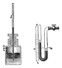 Manometer vintage engraving